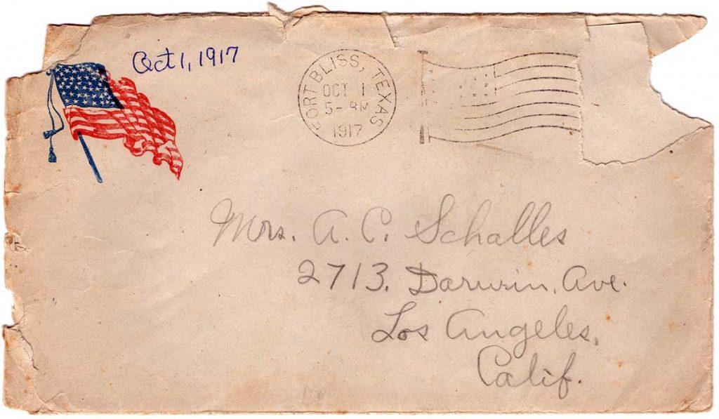 Letter by Robert E. Schalles, September 30, 1917, envelope