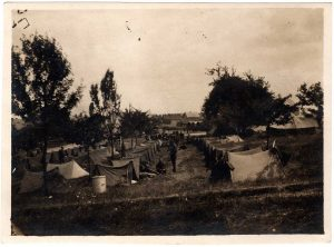 World War One (WWI): rows of tents with soldiers