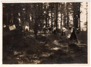 World War One (WWI): small tents encampment