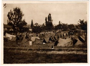 World War One (WWI): rows of tents
