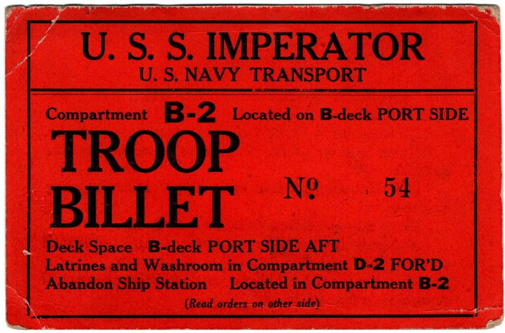 Imperator Ticket, Front (WWI)