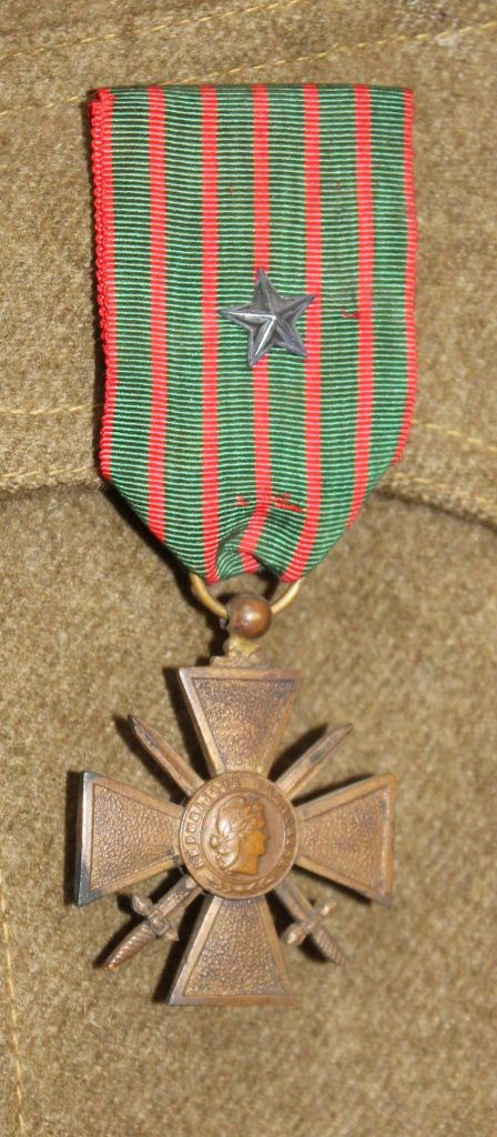 French Croix de Guerre (Military Cross). Medal awarded by France to French and allied soldiers.