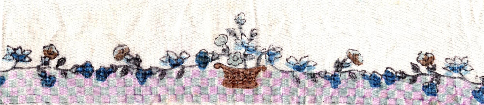 U.S.S. Imperator handkerchief detail vase, flowers, pattern