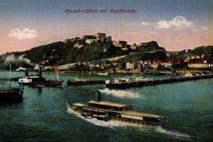 World War One Postcard: Coblenz Germany: Ehrenbreitftein mit Schiffbrucke