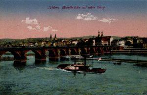 World War One Postcard: Coblenz Germany: Mofetbrucke mit after Burg