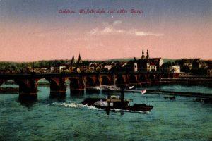 World War One Postcard: Coblenz Germany: Mofefbriicke mit after Burg