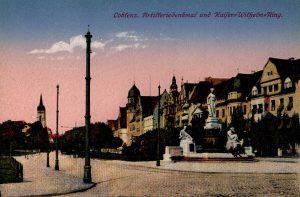 World War One Postcard: Coblenz Germany: Artifferiedenkmaf and Kaifer Wifhelm Ring.